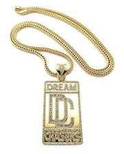 "ICED OUT DREAM CHASERS DC MEEK MILL PENDANT W 36"" FRANCO CHAIN NECKLACE JP217GS"