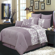 Bliss Purple Luxury 8 PC Comforter Set Includes Comforter Skirt Shams Pillow