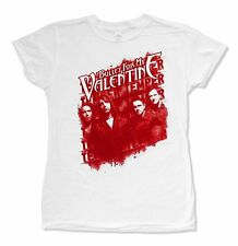 "BULLET FOR MY VALENTINE ""STENCIL GROUP"" WHITE BABYDOLL T-SHIRT NEW OFFICIAL JRS"