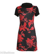 SAMYA PLUS SIZE FLORAL PRINT COWL NECK TUNIC DRESS RED 16 18 20 22 24 26 28