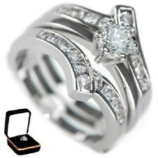 1.10CTW ROUND BRILLIANT STONES -WEDDING RING SET (2 RINGS) w/BOX size 5,6,8,9,10