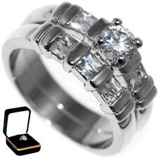 1.45CTW BRILLIANT CUT STONE ENGAGEMENT RINGS SET (2 rings) w/BOX size 6,7,8,9,10