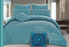 Aniene Aqua Blue Teal ruched 3pc QUEEN / KING size Doona Duvet Quilt Cover Set