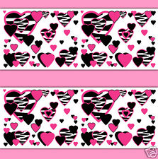 Hot Pink Zebra Heart Wallpaper Border Wall Art Decal Animal Print Stickers Decor