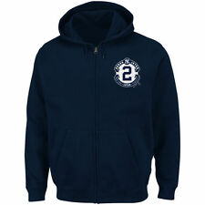 Derek Jeter New York Yankees Majestic Pinstripe Full-Zip Hoodie - Navy - MLB
