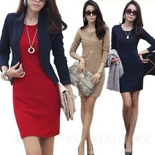 NEW Summer Elegant Office Party Prom Long sleeve Ladies Pencil Mini Dress Size