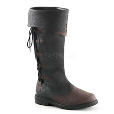 Black Brown Medieval Knight Renaissance Fair Mens Costume Boots size 12 13 14