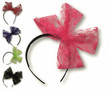 Neon Flo LACE Lacy Bow Alice Band HAIRBAND Goth Emo Halloween Tutu 80s Eighties