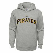 Pittsburgh Pirates Majestic Youth Wordmark Pullover Hoodie - Heather Gray - MLB