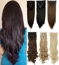 100% Real Quality  Full Head 8 piece Clip in on Hair Extension 18 clips Natural