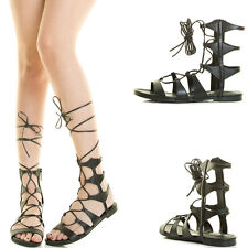 Black Open Toe Leg Wrap Strappy Lace Up Cage Cut Out Gladiator Women Flat Sandal