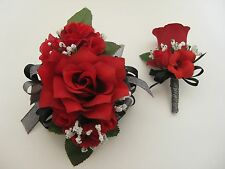 Wedding Prom Metallic Black Red Rose Flower Wrist Corsage or 2pc with Boutoniere