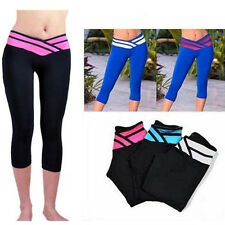 Women's 3/4 Trousers Cropped Athletic Apparel Yoga Gym Pants Stretch Leggings