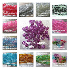 50 Crackle Class Beads 6mm 8mm Many Colors Jewelry Glass Craft Beads