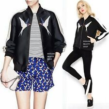Motorcycle Embroidery Jacket Women Bomber Coat Embroidered Baseball Stripe Biker