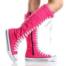 Tall Canvas Lace Up Zip Side boots Knee High Sneakers Flat ACTUAL SIZE 8 38.5 eu