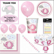 BABY SHOWER Umbrellaphants Personalised Girl Pack/Set/Kit-Plates, Party Supplies