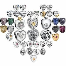 Fashion Heart 925 Sterling Solid Silver European Bead For Charms Bracelet Bangle