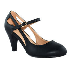 CHASE & CHLOE CD38 Women Classical Round Toe Mid Heel Mary Jane Style Dress Pump