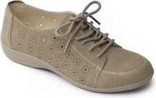 Padders DARCY Ladies Womens Leather Lace Up Casual Rounded Trainers Shoes Grey