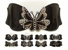 Ladies Womens Fashion Butterfly Studded Elasticated Clip On Buckle Belt One Size