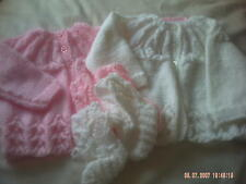 Hand Knitted Baby Cardigan/Coat And Bootees In Various Colours Size 0-6 Months.