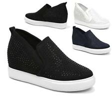 LADIES ELASTIC SLIP ON HIDDEN WEDGE TRAINER SNEAKERS CANVAS PLATFORM PUMPS BOOTS