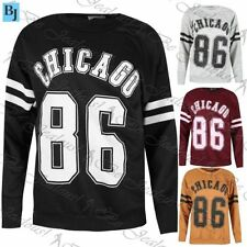 Ladies Chicago 86 Sports Stripes Baggy Sweatshirt Womens Oversized Top Jumper