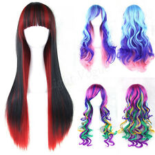 Women's Lady Straight Wavy Mixed  Hair Anime Long Cosplay Party Full Wig New