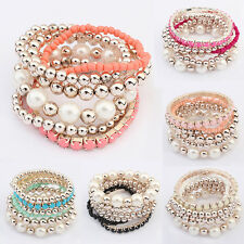 Womens Pearl Beaded Multilayer Charm Bracelet Bangle Hand Chain Jewelry Fashion