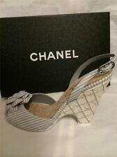 CHANEL 14C Striped Leather Camellia Flower Cork Wedge Heels Sandals Shoes $1050