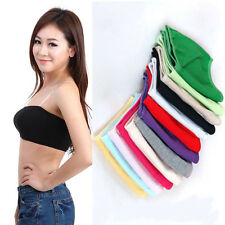 Women Solid Soft Bandeau Seamless Bra Tube Tank Top Strapless Stretch Free Size