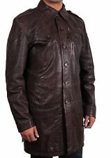 New Men's Stylish Genuine Leather Trench Coat Winter Long Jacket Overcoat BNWT