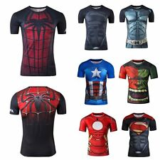 New Marvel Superhero Men Top T-shirts Tights Gym Sport Compression Bicycle Tee