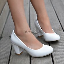 Womens Ladies Casual Block Chunky Heels Court Shoes  Pumps US ALL Size D263