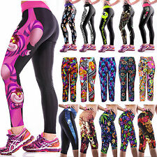 Womens Yoga Gym Pants Sports Cropped Workout Leggings Fitness Jogging Trousers