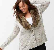 LANE BRYANT Removable Faux Fur Collar Cardigan Women's Plus 18/20 26/28 Layering