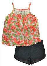 Pogo Club Big Girls Floral Print Chiffon Top 2pc Short Set Size 7/8 10/12 14/16