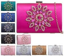 NEW LADIES JEWEL DIAMANTE SATIN HARDCASE PROM PARTY EVENING DRESSY CLUTCHBAG