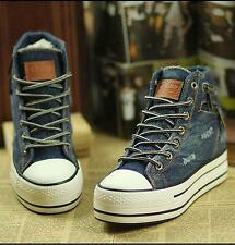 Denim Canvas Fashion Women Zipped Decor Platform High Top Sneakers Casual Shoes