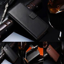 HOT Luxury Genuine  Real Leather Flip Wallet Case Stand Cover For HTC ONE M8