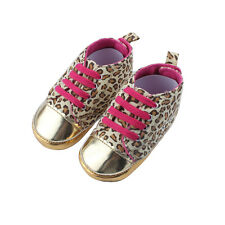 Cute Baby Girl Infant Toddler Leopard Gold Crib Shoes Walking Sneaker 3 Size