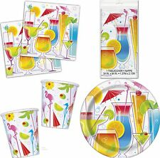 Summer Cocktail Tropical BBQ Party Tablecover Napkins Plates Cups  & PARTY PACK