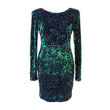 dp92 CFLB Vintage Long Sleeve Sequin Mini Short Party Cocktail Dress 8 10 12 14
