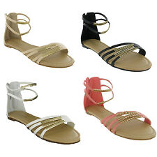 NEW WOMENS STRAPPY ANKLE METAL TRIM FLAT SUMMER FASHION ZIP SANDALS SHOES UK 3-8