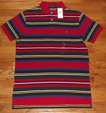 NWT Mens Polo Ralph Lauren Custom Fit Polo Shirt Pony Logo Red Multi Stripe *F4