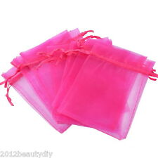 Wholesale Lots 9x12cm Fuchsia Organza Jewelry Gift Pouch Bags Wedding X-mas