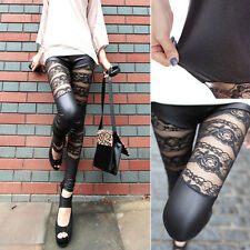 Women High Waist Sexy Stretch Lace Floral Faux Leather Skinny Leggings Pants M-L
