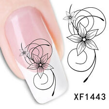 1x 2x SheetsLot Nail Art Decals Transfers Stickers XF1443- Black Flowers 3D Tips