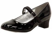 Nine West Girl's Pumped Up Black Glitter & Patent Leather Mary Janes Shoes